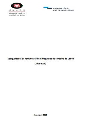 Capa - Desigualdades de Remuneração nas freguesias do concelho de Lisboa (2003-2009)